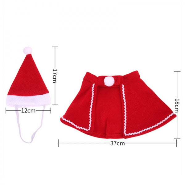 Christmas Decoration Dog Clothes Hat Dress Pet Cap Cloak Winter Warm