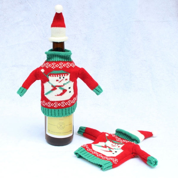 Knitted Sweater Lid Hat Wine Bottle Cover Wrap Bag Xmas Christmas Decoration