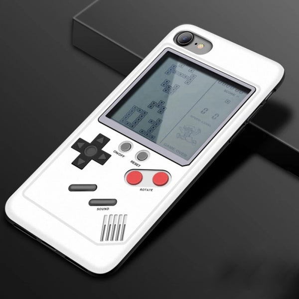 2574 Classic Games Handheld Game Console Tetris Game Phone Case Cover White for iPhone 6/6S/7/8/XR
