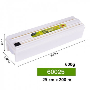 Cling Film Cutter with Plastic Wrap Long-lasting Preservation Locked Water Health Safety Plastic Box Cling Film Dispenser Kitchen Creative Tool - 25cmx200m