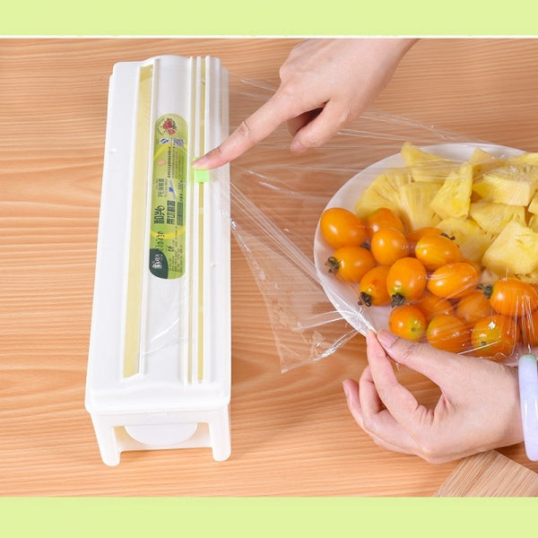 Cling Film Cutter with Plastic Wrap Long-lasting Preservation Locked Water Health Safety Plastic Box Cling Film Dispenser Kitchen Creative Tool - 35cmx300m