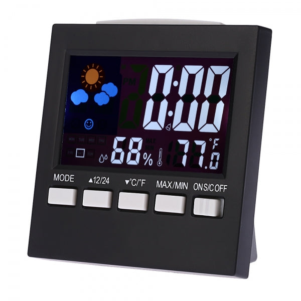 Colorful LCD Digital Thermometer Hygrometer Clock with Snooze Function