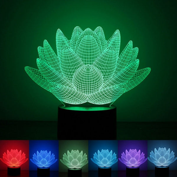 LED Night Light Lotus Pattern 3D Illusion 7-Color Change Touch Switch
