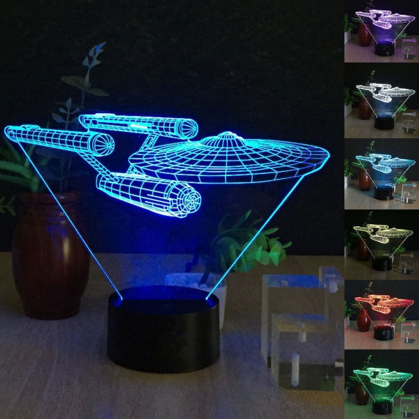 Spaceship 3D Illusion LED Night Light 7-Color Change Table Lamp Gift