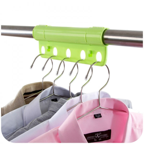 Creative 5 Holes Plastic Foldable Fixed Clothes Hanger Lock Windproof Clothing Rack Lock Green