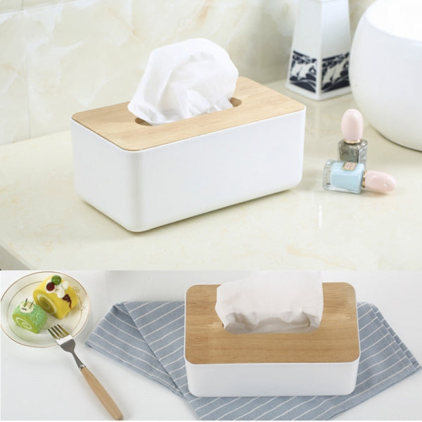 Creative Desktop Tissue Box Wooden Cover Rectangular White
