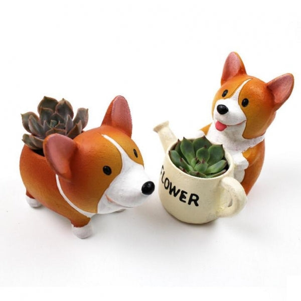 Creative Resin Kawaii Corgi Hold Pot Flowerpot Garden Decoration Desk Bonsai Succulent Plants Flower Pot