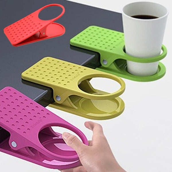 Creative Cup Clip Table Desk Coffee Drink Clip Holder Random Color