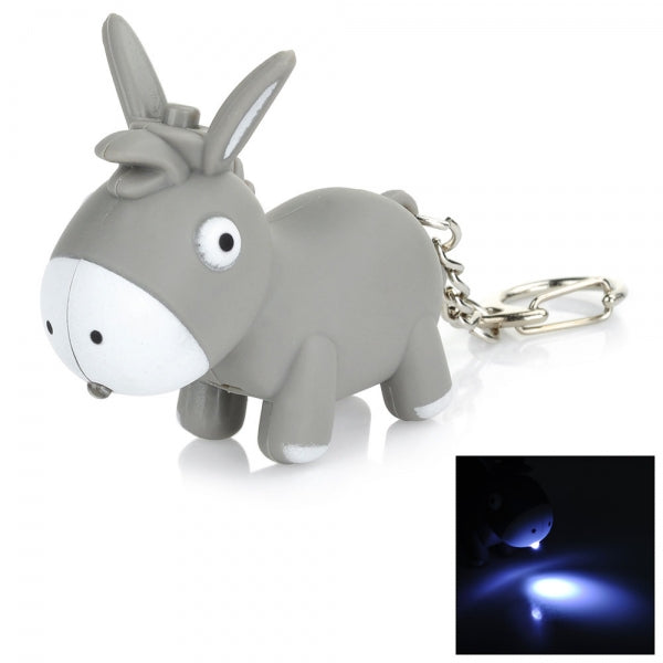 Cute Cartoon Donkey LED Light Keychain w/ Sound Effect Grey & White
