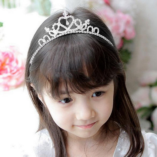 Cute Rhinestone Princess Kids Girls Crystal Wedding Crown Headband Tiara Silver