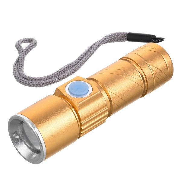 Cwxuan Built-in 2000mAh Battery 100LM USB Rechargeable Waterproof 3-Mode Flashlight Golden