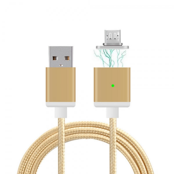 Cwxuan Magnetic Micro USB Braided Nylon Cord Charging Cable Golden (1m)