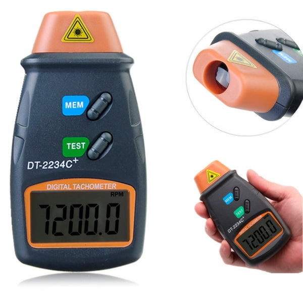 Handheld LCD Digital Laser RPM Tachometer Non-Contact Measurement Tool