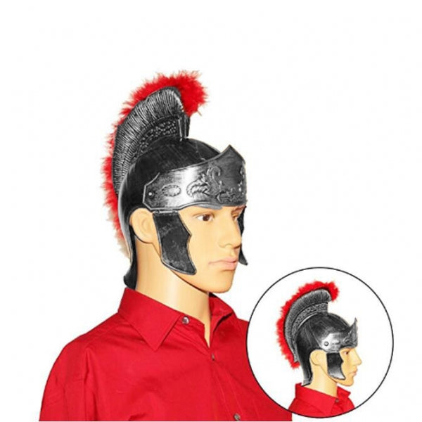 Dazzling Toy Olia Design Roman Helmet with Red Feathers Gladiator  Silver