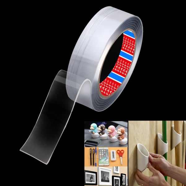Nano Magic Tape Traceless Washable Double Sided Adhesive Tape for Home / Car -  3cm x 1m / 1.2in x 3.3ft - Transparent