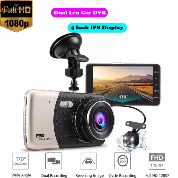 "Dual Lens Car DVR Camera Video Recorder Full HD 1080P 4"" IPS Display G-Sensor Night Vision Wdr Dash Cam with Rear View Dashcam"