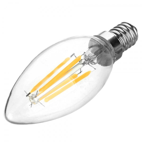 E14 4W 400LM 6500K 4-COB LED Filament Bulb White Light AC110V
