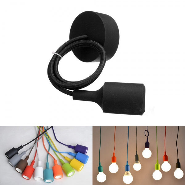 E27 Silicone Rubber Ceiling Pendant Light Lamp Holder Socket DIY Black