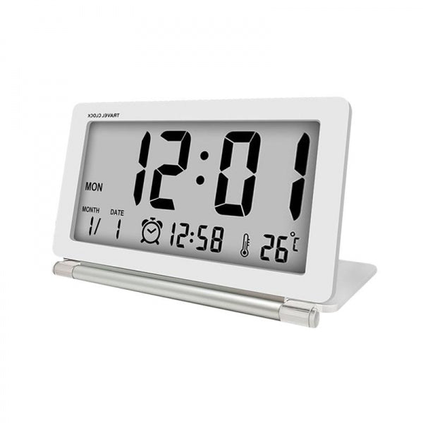 Electronic Alarm Clock Travel Clock Multifunction Silent LCD Digital Large Screen Folding Desk Clock With Temperature Date Time Calendar - White