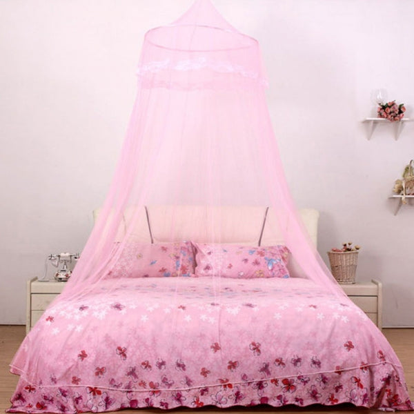 Students Hang Dome Mosquito Net Round Lace Anti-insert Curtain Pink