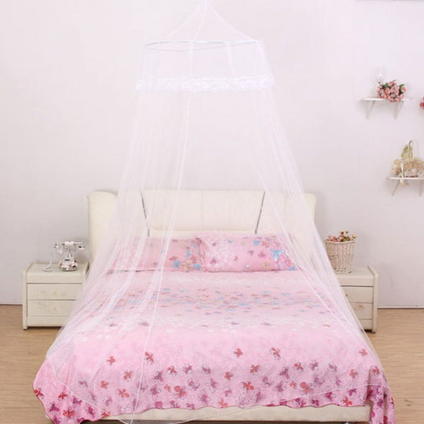 Students Hang Dome Mosquito Net Round Lace Anti-insert Curtain White
