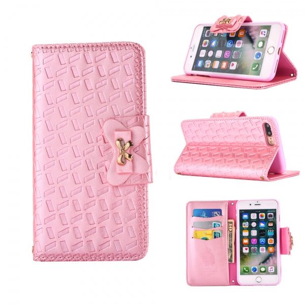 Embossed Belt Butterfly Buckle Holder Leather Case for iPhone 7 Plus Pink