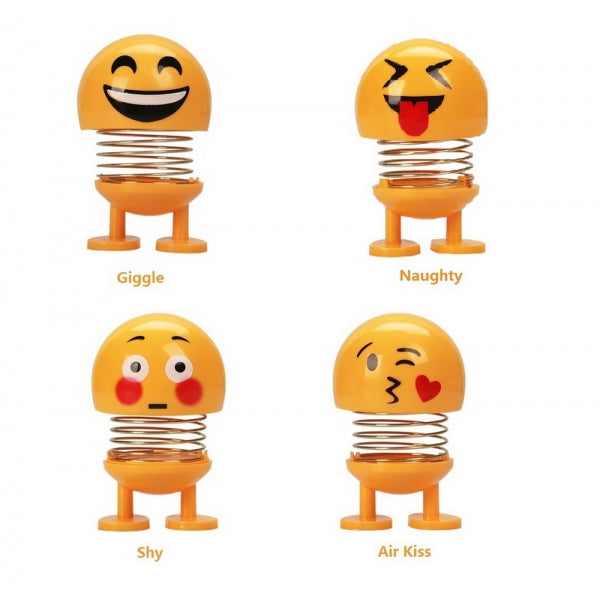 Emoji Shaking Head Dolls Emotion Spring Dolls Novelty Funny Smiley Face for Car Interior Decoration/Home Ornament/Party Favors - Happy