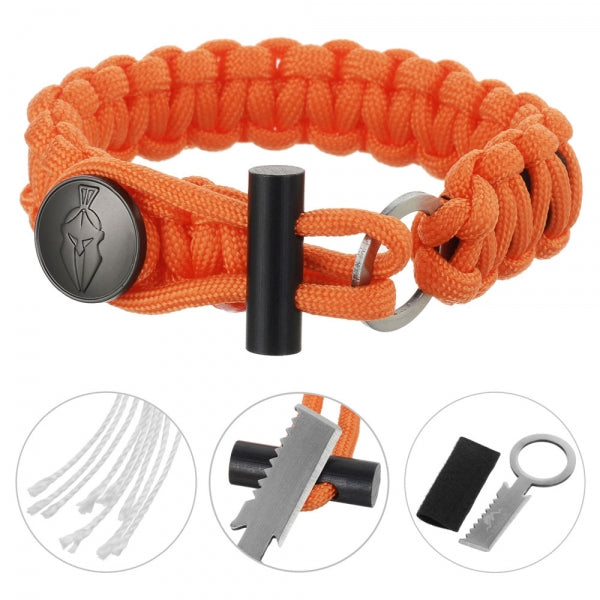 3-in-1 Outdoor Military-Spec Parachute Rope Bracelet - Orange
