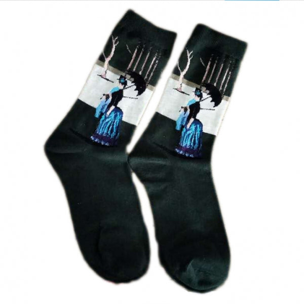 Creative Vintage Retro Painting Art Socks Casual Cotton High Dress Socks - #16