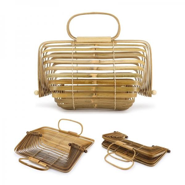 Fashion New Designer Vintage Hollow Collapsible Rotatable Bamboo Bag Handbag Tote - stringsmall