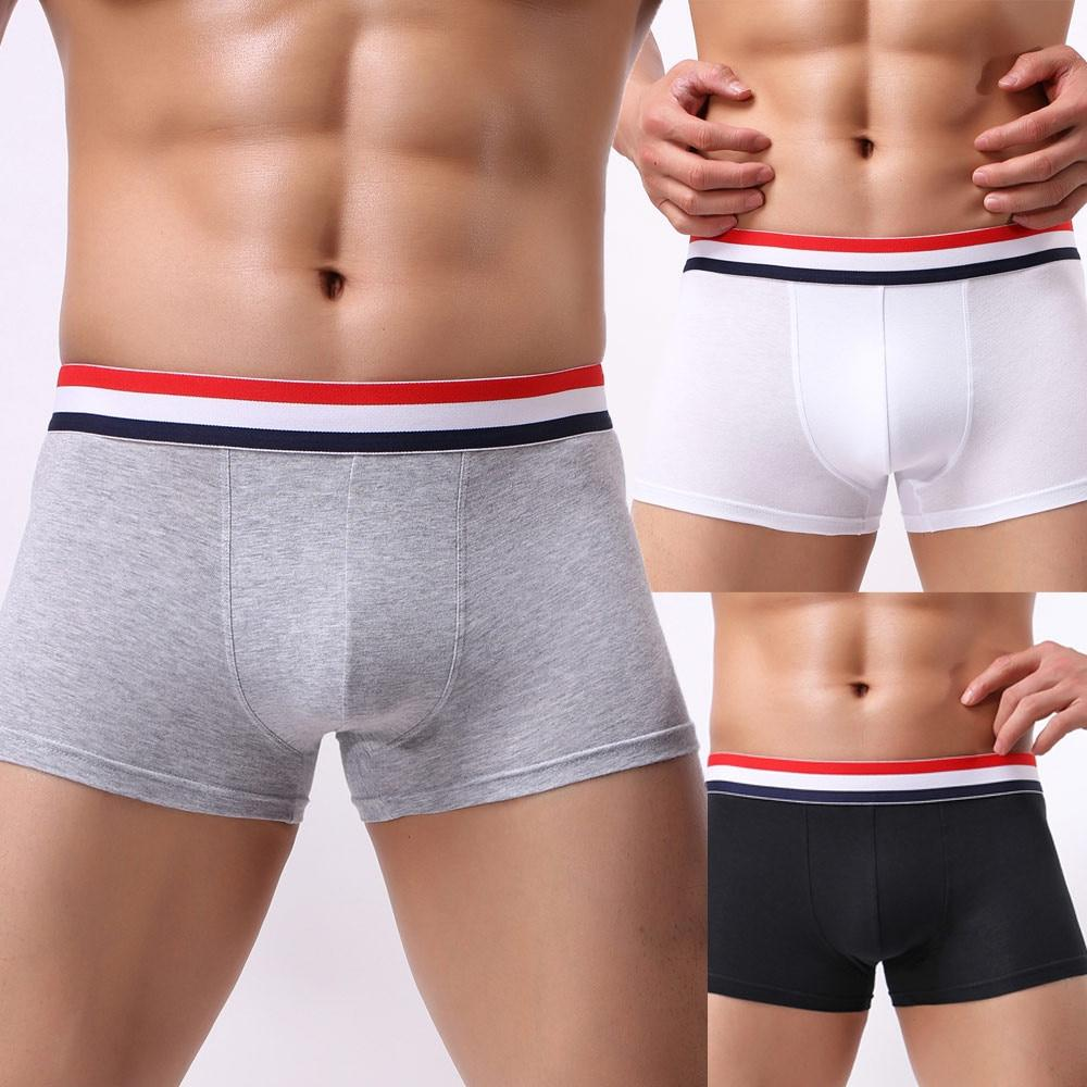 Men's Boxer Cotton Breathable Mens Elastic Underwear Shorts Bulge Male Underpants
