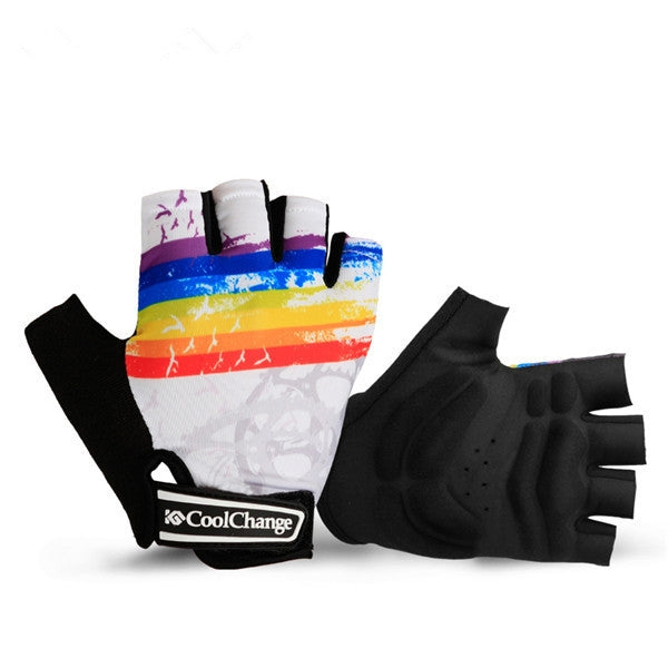 Fashion Unisex Cycling Gloves Half-finger Nylon Breathable Sport Gloves White M