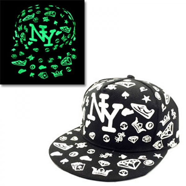 Unisex Glow In The Dark Luminous Hat Snapback Baseball Hip-Hop Night Fluorescent Cap - #04