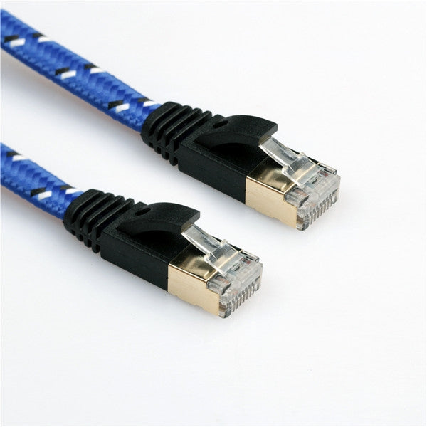 3m Flat Knitted CAT-7 CAT7 RJ45 10Gbps Ethernet Cable LAN Network Cord Blue