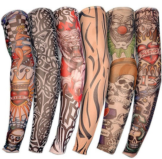 1 Pair 26 kinds of flower arm sleeves tattoo cuffs seamless sleeves outdoor riding arm sleeves armband tattoo sunscreen sleeves riding tattoo sleeves