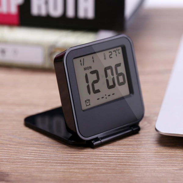 Portable Folding Mini Pocket Temperature Clock Foldable LCD Digital Travel Desk Alarm Clock Snooze  Thermometer - Black