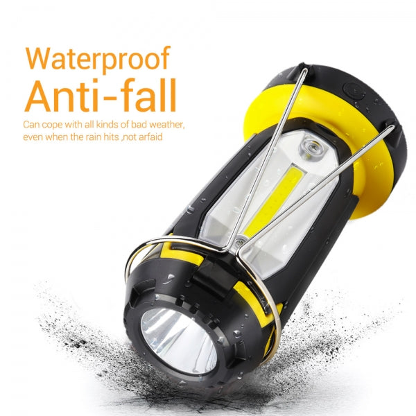 Flashlight USB Rechargeable Portable Work Light Waterproof Outdoor Tent Light Searchlight for Camping Hiking Repairing WOMAO Foldable Camping Lamp 3 Light Sources Color Yellow