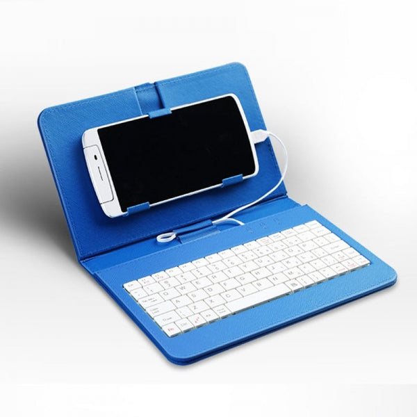 General Flip Holster Case Wired Keyboard for Andriod Mobile Phone 4-6.8inch Blue