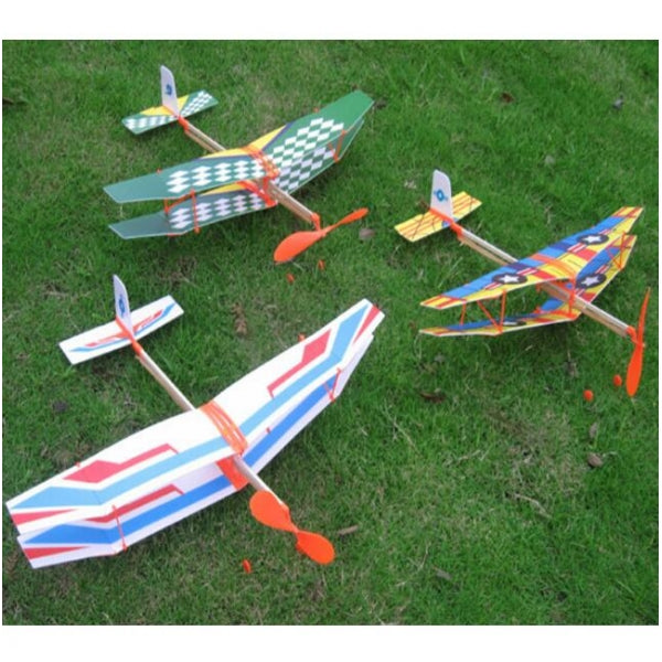 Glider Rubber Band Elastic Powered Flying Plane Airplane Fun Model Kids Toy Random Color