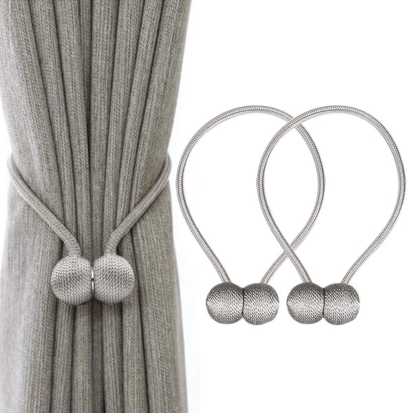 Gray 2Pcs Magnetic Pearl Ball Curtain Anchor Tie Backs Stopper Buckle Clips Accessory