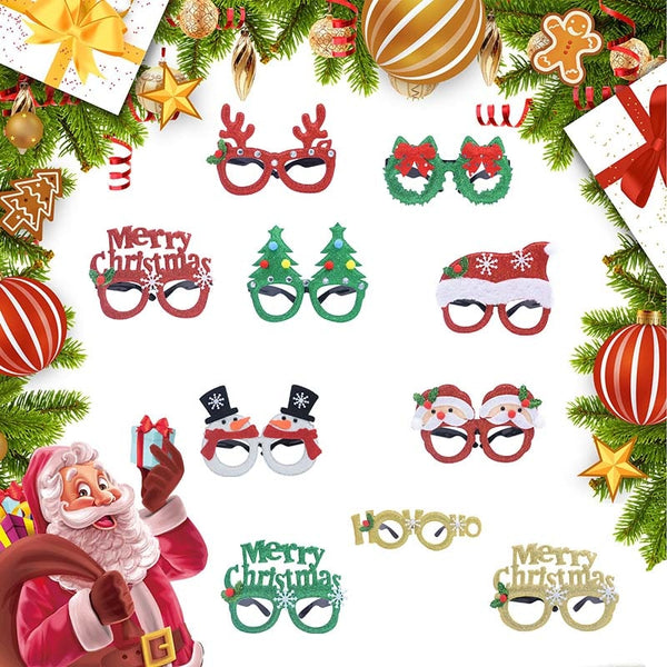 10pcs Merry Christmas Santa Claus Snowman Frame Toy Glasses for Kids Adults Christmas Party Decorations 2021 New Year Decor