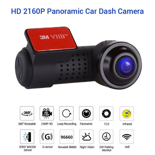 4K 2160P Mini 360° Panorama Car DVR Sony IMX326 Camera Novatek 96660 Recorder Wifi HD Night Vision 24 Hours Parking Monitoring