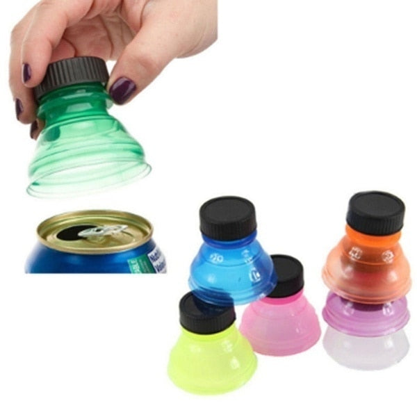 3Pcs/6Pcs Reusable Leakproof Caps Soda Drink Beverage Saver Zip-top Can Cover Lid Bottle Stopper Dropshipping outdoor drink beverage Random Color