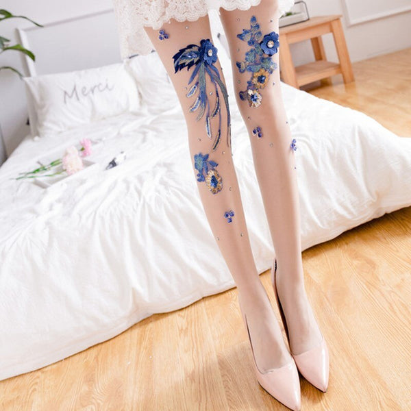 Hand-embroidered stockings Flower Style Cherry Blue Enchantress Pattern Anti-hook Silk Mask Stockings Panty Women Pantyhose