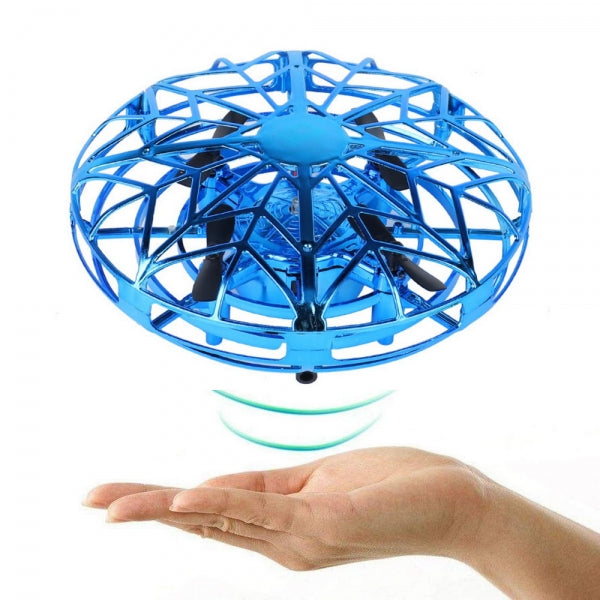 Hand-Controlled Infrared Induction UFO Mini Drone Ball Flying Aircraft with 360° Rotating and LED Lights for Kids Teenagers Adults - Blue
