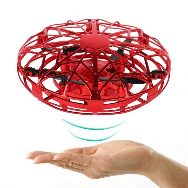 Hand-Controlled Infrared Induction UFO Mini Drone Ball Flying Aircraft with 360¡ã Rotating and LED Lights for Kids Teenagers Adults - Red