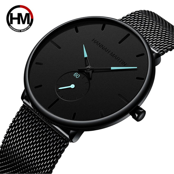 Hannah Martin Watch Men New Simple Design Stainless Steel Mesh Small Dial Men Watches Top Brand Luxury Quartz relogio masculino