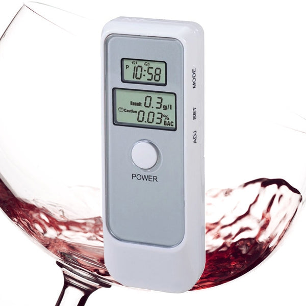Portable Alcohol Tester Dual LCD Digital Display Breathalyzer White