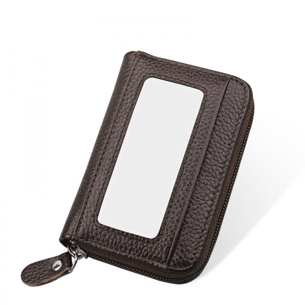 Horizontal Style Unisex Leather Capacity Card Holder Portable Change Bag Coffee