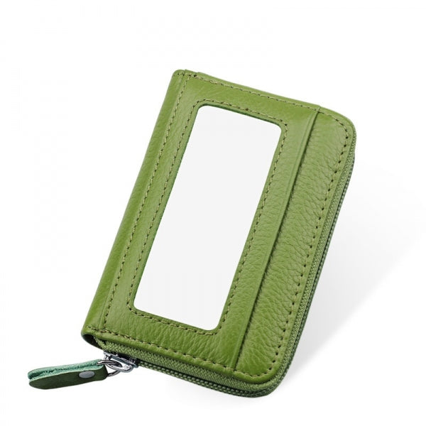 Horizontal Style Unisex Leather Capacity Card Holder Portable Change Bag Green